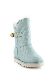 Buckle Checked Stitching Short Boots - Blue 37