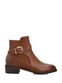 Zipper Buckle Strap Solid Color Short Boots - Brown 38