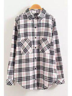 Gingham Check Single-Breasted Shirt - Pink L