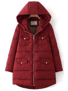 Hooded Appliqued Quilted Coat - Wine Red L