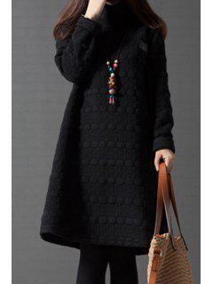 Turtleneck A-Line Thermal Dress - Black M