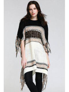 Asymmetrical Fringe Batwing Sleeve Sweater - White And Black S