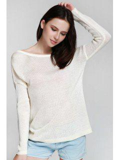 One Shoulder White Backless Long Sleeve Sweater - White