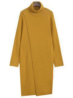 Pure Color Turtle Neck Long Sleeves Sweater Dress - Ginger