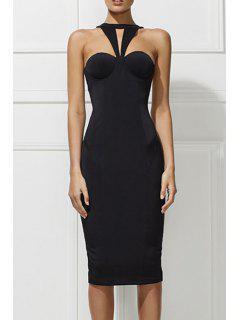Back Slit Halter Backless Solid Color Dress - Black L