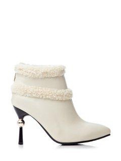 Strange Heel Pointed Toe Splicing Short Boots - Off-white 37