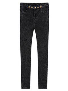 Solid Color Skinny Fleece Jeans - Black M