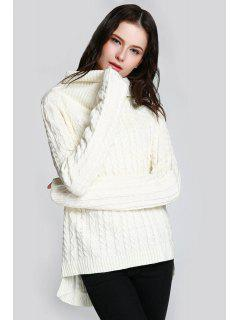 Cable Knit Open Back Sweater - White