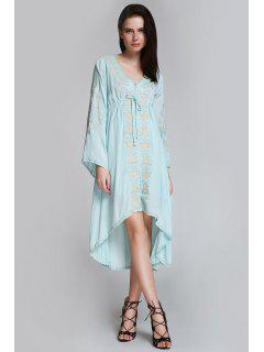 Flare Sleeve Embroidered Shapeless Dress - Light Blue S