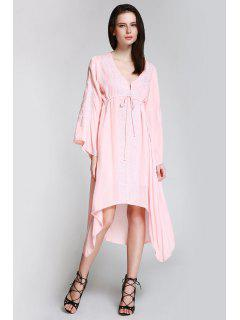 Flare Sleeve Embroidered Shapeless Dress - Shallow Pink S