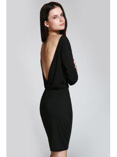 Open Back 3/4 Sleeve Bodycon Dress - Black Xl