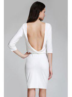 Open Back 3/4 Sleeve Bodycon Dress - White Xs