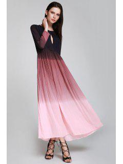Keyhole Ombre Color Prom Dress - Pink Xl