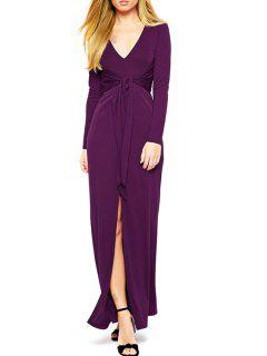 Purple Plunging Neck Long Sleeve Maxi Dress - Purple L
