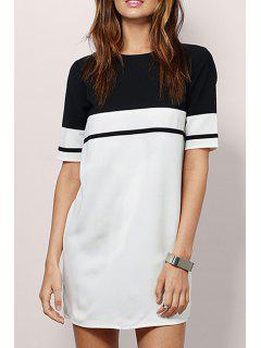 Hit Color Round Neck Short Sleeve Dress - White And Black Xs