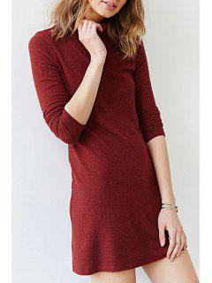 Solid Color Turtle Neck Casual Dress - Wine Red M