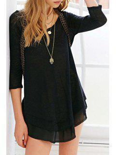 Solid Color Scoop Neck 3/4 Sleeve Casual Dress - Black Xl