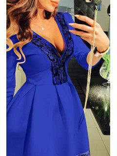 Lace Spliced Plunging Neck 3/4 Sleeve Dress - Blue L