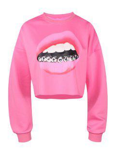 Lip Print Long Sleeve Cropped Sweatshirt - Plum L