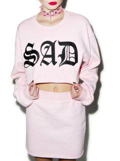 Letter Print Pink Long Sleeve Sweatshirt And Skirt Suit - Pink L