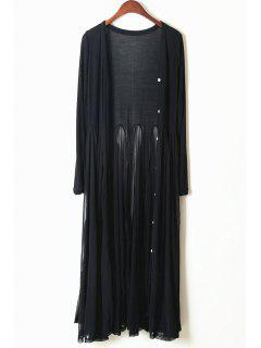 Long Sleeves Solid Color Long Cardigan - Black