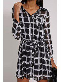 Checked Shirt Collar Long Sleeve Waisted Shirt Dress - Black S