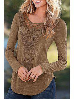 Solid Color Round Color Long Sleeve T-Shirt - Khaki L