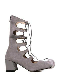 Pompon Hollow Out Criss-Cross Short Boots - Gray 39
