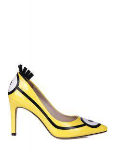 Pointed Toe Minions Print Stiletto Heel Pumps - Yellow 34