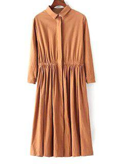 Solid Color Shirt Collar Waisted Shirt Dress - Brown