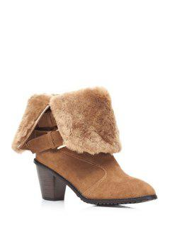 Fold Over Buckles Chunky Heel Short Boots - Khaki 39