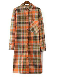 Checked Shirt Collar Long Sleeve Pocket Shirt Dress - Orange M