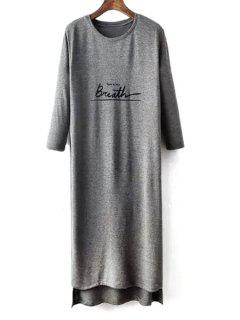 Letter Print 3/4 Sleeve High Slit T-Shirt Dress - Gray S