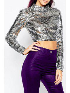 Sequins Cropped Mock Neck Long Sleeve T-Shirt - Silver S