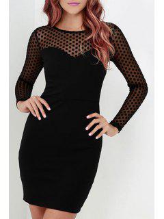 Voile Polka Dot Splicing Round Collar Bodycon Dress - Black L