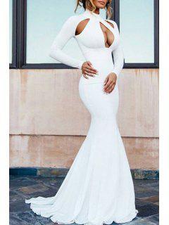 White Long Sleeve Fishtail Maxi Dress - White M