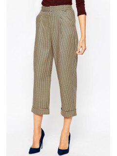 Checked High Waisted OL Style Pockets Pants - Apricot Xl