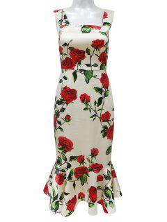 Floral Flounce Square Neck Sleeveless Dress - Nude M