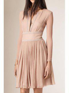 Pure Color Jewel Neck Long Sleeves Dress - Khaki M