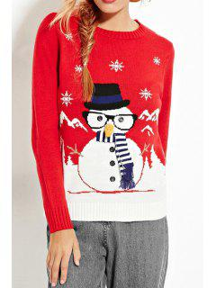 Christmas Cartoon Print Round Collar Sweater - Red