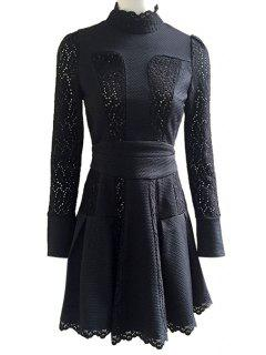 Lace Spliced Stand Neck Solid Color Dress - Black S