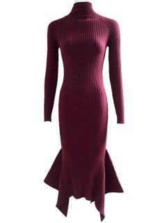 Lace Up Cut Out Solid Color Mermaid Dress - Wine Red S