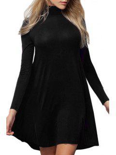 Pure Color Turtle Neck Long Sleeve A Line Dress - Black L