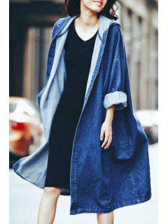 Denim Hooded Long Sleeve Loose Coat - Blue