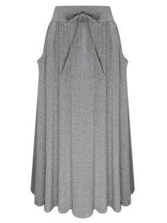 Pure Color Elastic Waist Drawstring Skirt - Gray