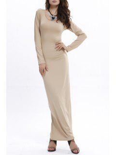 Bodycon Scoop Neck Long Sleeve Maxi Dress - Khaki Xl