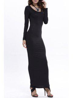Bodycon Scoop Neck Long Sleeve Maxi Dress - Black Xl
