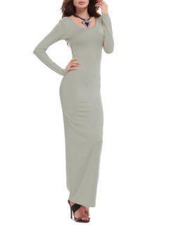 Bodycon Scoop Neck Long Sleeve Maxi Dress - Gray Xl
