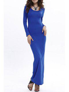 Bodycon Scoop Neck Long Sleeve Maxi Dress - Sapphire Blue Xl