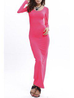 Robe Maxi à Mancheslongues à Col U Pour Femmes - Rose Xl